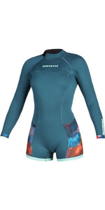 2020 Mystic De Las Mujeres Diva De La Manga Larga 2mm Back Zip Shorty Wetsuit 200072 - Verde Azulado