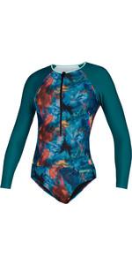 2020 Mystic Womens Diva Long Sleeve Swimsuit 200152 - Teal