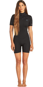 2019 Billabong Vrouwen Synergy 2mm Shorty Wetsuit Zwart Palms N42g04