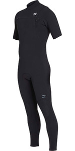 2019 Billabong Homens 2mm Pro Series Manga Curta No Chest Zip Wetsuit Preto N42m02