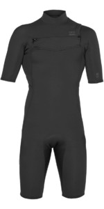 2019 Billabong Mannen 2mm Absolute Gbs Chest Zip Shorty Wetsuit Zwart / Zilver N42m20