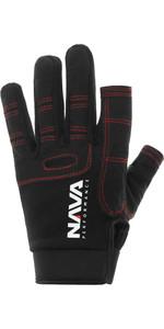 2021 NAVA Performance Long Finger Sailing Gloves NAVA010 - Black