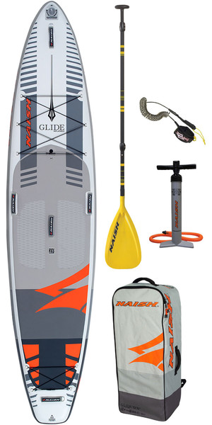 "2019 Naish Glide 12'6 ""x 32"" Fusion Stand-Up Paddle Board-pakket inclusief paddle, tas, pomp en riem"