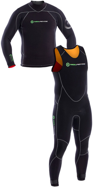 2018 Neil Pryde Junior Elite Firewire Top de manga larga de 3 mm y Long John Wetsuit Combi Black