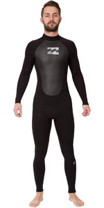 2019 Billabong Intruder 3 / 2mm GBS terug Zip Wetsuit ZWART 043M15