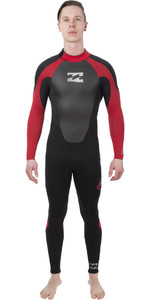 2018 Billabong Intruso 5/4 / 3mm GBS Cremallera Traje de neopreno NEGRO / Rojo L45M51
