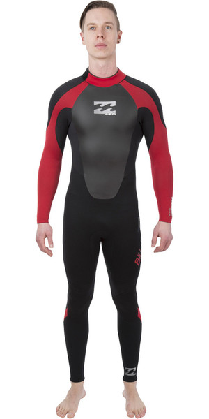 2018 Billabong Intruder 3 / 2mm GBS Retour Zip Wetsuit NOIR / Rouge L43M51