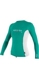 2021 O'Neill Meisje Premium Skins Met Lange Mouwen Lycra Vest 4176 - Oostzee Groen / Wit