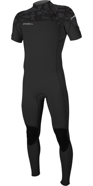 2019 O'Neill Mens Hammer 2mm Bryst Zip Short Sleeve Wetsuit Black Jet Camo 5056