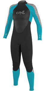 2018 O'Neill Womens Epic 5 / 4mm Voltar Zip GBS Wetsuit PRETO / Azul / STRIPE 4218