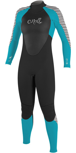 2018 O'Neill Womens Epic 5 / 4mm Cremallera trasera GBS Wetsuit NEGRO / azul / STRIPE 4218