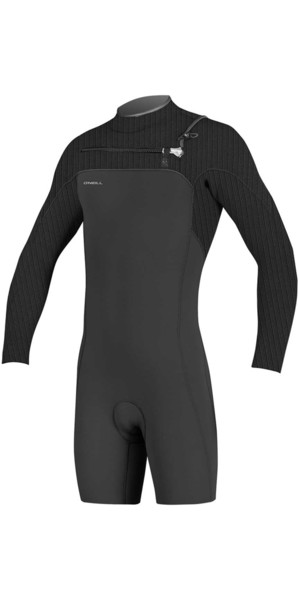 2019 O'Neill Hyperfreak 2mm Chest Zip GBS Long Sleeve Shorty Wetsuit BLACK 5004