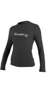 O'Neill Womens Basic Skins Long Sleeve Rash Tee BLACK 4340