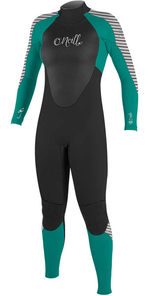 2018 O'Neill Womens Epic 3 / 2mm GBS Back Zip Muta NERO / VERDE / STRIPE 4213
