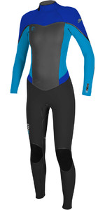 O'Neill Womens Flair 3/2mm Back Zip Wetsuit BLACK / SKY / TAHITIAN BLUE 4765