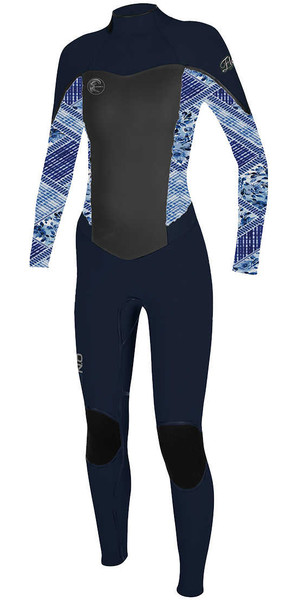 2018 O'Neill Womens Flair 4 / 3mm Zip posteriore Muta NAVY / INDIGO 4766