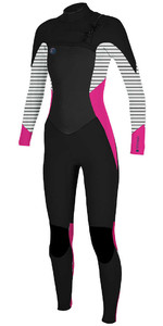 O'Neill Womens O'riginal 4 / 3mm Bryst Zip Wetsuit BLACK / PUNK PINK 5015