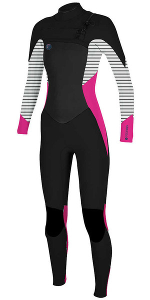 2018 O'Neill Womens O'riginal 4 / 3mm Chest Zip Wetsuit NEGRO / PUNK PINK 5015