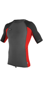O'Neill Premium Skins Short Sleeve Rash Vest GRAPHITE / RED 4169B
