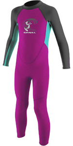 2021 O'Neill Toddler Girl's Reactor 2mm Back Zip Combinaison Néoprène Berry / Aqua 4868G
