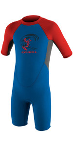 2021 O'Neill Toddler Reactor 2mm Back Zip Shorty Wetsuit OCEAN / GRAPHITE / RED 4867