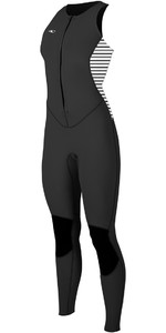 2018 O'Neill Womens Bahia 1.5mm Front Zip Long Jane BLACK / STRIPE 4860