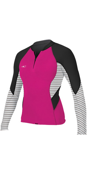 2018 O'Neill Womens Bahia 1mm Zip frontale manica lunga in neoprene PUNK PINK 4934