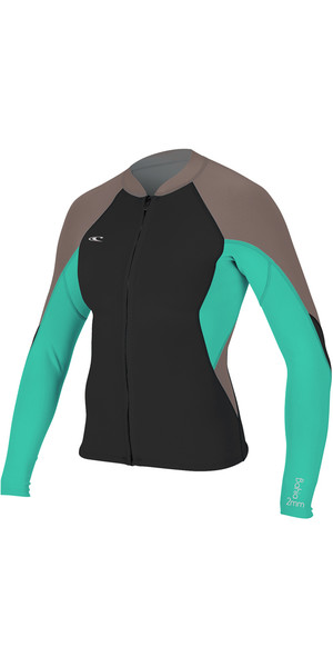 2018 O'Neill Womens Bahia 1mm Fuld Zip Langærmet Neoprenjakke BLACK / CAPRI BREEZE 4933