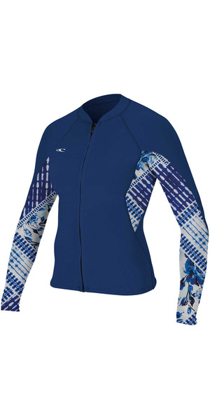 2018 O'Neill Womens Bahia 1mm Fuld Zip Langærmet Neoprenjakke NAVY / INDIGO PATCH 4933
