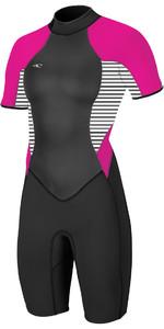 O'neill Frauen Bahia 2/1mm Back Zip Auf Der Back Zip Shorty Anzug Schwarz / Streifen / Punk Rosa 4858