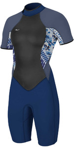 O'Neill Womens Bahia 2 / 1mm Tilbage Zip Shorty Wetsuit NAVY / INDIGO PATCH 4858