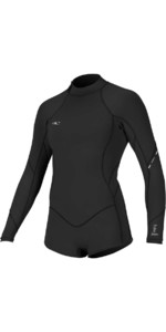 2019 O'Nill Dames Bahia 2/1mm Back Zip Shorty Wetsuit Zwart Met Lange Mouwen 4848