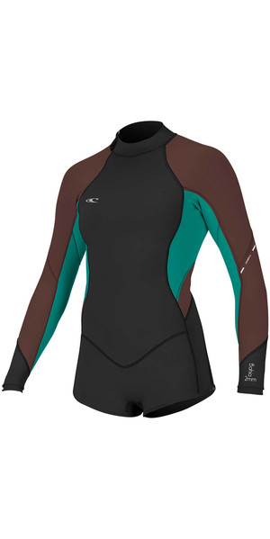 2018 O'Neill Womens Bahia 2 / 1mm manga larga Back Zip Shorty Wetsuit NEGRO / PIMIENTA 4859