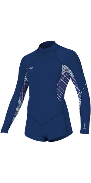 2018 O'Neill Womens Bahia 2 / 1mm Manica lunga con zip posteriore Shorty Muta NAVY 4859