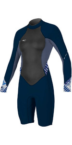 O'Neill Womens Bahia 2 / 1mm Manga Comprida Voltar Zip Primavera Wetsuit Shorty NAVY / MIST 4857