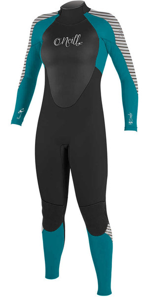 2018 O'Neill Womens Epic 4 / 3mm Voltar Zip GBS Wetsuit PRETO / VERDE / STRIPE 4214