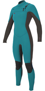O'Neill Womens Hyperfreak 3/2mm Chest Zip GBS Wetsuit GREEN / BLACK 5074