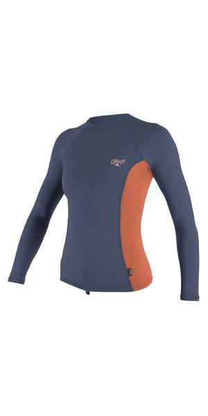 2018 O'Neill Womens Premium Skins Long Sleeve Turtleneck Rash Vest MIST / CORAL 4172B