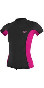 O'Neill Womens Premium Skins Short Sleeve Turtleneck Rash Vest BLACK / BERRY 4171B