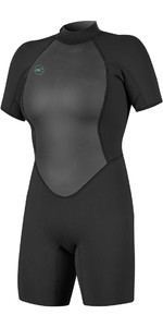 2020 O'neill Mulheres Reactor Ii 2mm Back Zip Shorty Wetsuit Preto 5043
