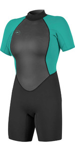 2021 O'neill Frauen Reactor Ii 2mm Back Zip Shorty Wetsuit Schwarz / Aqua 5043