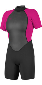 2020 O'Neill Womens Reactor II 2mm Back Zip Shorty Wetsuit BLACK / BERRY 5043