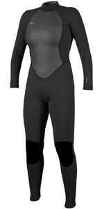 2019 O'Neill Womens Reactor II 3/2 mm back Zip Wetsuit ZWART 5042