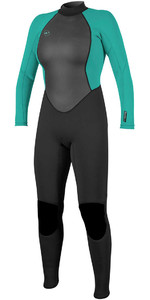 De O'Neill Vrouwen Reactor Ii 3/2mm Back Zip Wetsuit Zwart / Turquoise 5042