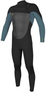 O'Neill Youth O'Riginal 5 / 4mm Borst Zip Wetsuit BLACK / DUSTY BLUE / DAYGLO 4999