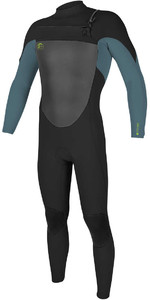 O'Neill Youth O'riginal 3/2mm GBS Chest Zip Wetsuit BLACK / DUSTY BLUE / DAYGLO 5017