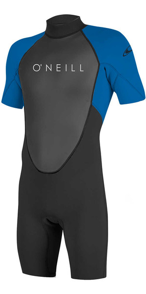 2018 O'Neill Youth Reactor II 2mm Back Zip Shorty Wetsuit BLACK / OCEAN 5045