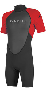 2018 O'Neill Youth Reactor II 2mm Back Zip Shorty Wetsuit BLACK / RED 5045