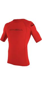 2020 O'Neill Basic Skins Short Sleeve Crew Rash Vest 3341 - Red