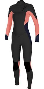 O'Neill Ladies O'Riginal 5/4 Chest Zip Wetsuit BLACK / GRAPEFRUIT 4997 - 2ND